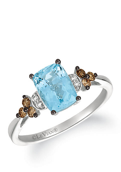 1.15 ct. t.w. Sea Blue Aquamarine®, 1/6 ct. t.w. Chocolate Diamonds® and 1/10 ct. t.w. Vanilla Diamonds® Ring in 14k Vanilla Gold®