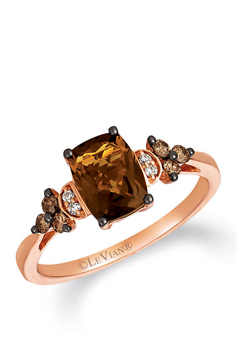 1.25 ct. t.w. Caramel Quartz, 1/6 ct. t.w. Chocolate Diamonds® and 1/10 ct. t.w. Vanilla Diamonds® Ring in 14k Strawberry Gold®