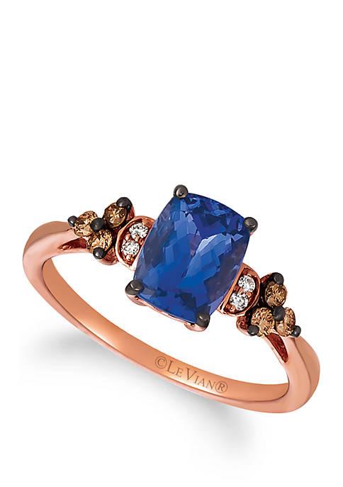 1.10 ct. t.w. Blueberry Tanzanite®, 1/6 ct. t.w. Chocolate Diamonds® and 0.02 ct. t.w. Vanilla Diamonds® Ring in 14k Strawberry Gold®