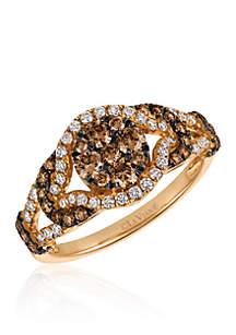 Chocolate Diamonds® and Vanilla Diamonds® Ring in 14k Strawberry Gold®