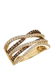 2/5 ct. t.w. Chocolate Diamonds® and 1/2 ct. t.w. Vanilla Diamonds® Ring in 14k Honey Gold™