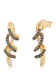 1/4 ct. t.w. Chocolate Diamonds® and 1/8 ct. t.w. Vanilla Diamonds® Earrings in 14k Honey Gold™