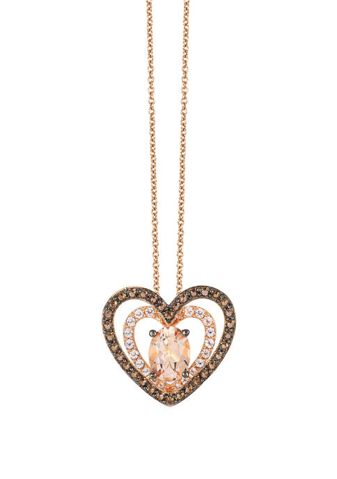 7/8 ct. t.w. Morganite, 1/3 ct. t.w. White Topaz and 3/8 ct. t.w. Smoky Quartz Necklace in 14k Rose Gold