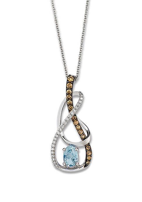 5/8 ct. t.w. Sea Blue Aquamarine®, 1/8 ct. t.w. Vanilla Diamonds®, and 1/3 ct. t.w. Chocolate Diamonds® Pendant  in 14k Vanilla Gold®