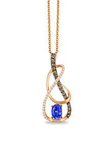 Blueberry Tanzanite and Chocolate & Vanilla Diamonds Pendant in 14k Strawberry Gold