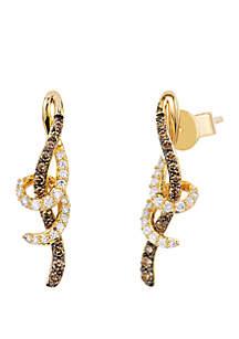 1/5 ct. t.w. Chocolate Diamonds® and 1/8 ct. t.w. Vanilla Diamonds® Earrings in 14k Honey Gold™