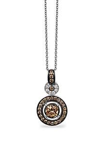 3/4 ct. t.w. Chocolate Diamonds® and 1/10 ct. t.w. Vanilla Diamonds® Pendant Necklace in 14k Vanilla Gold®