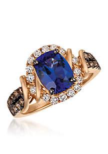 Blueberry Tanzanite and Chocolate & Vanilla Diamonds Ring set in 14k Strawberry Gold