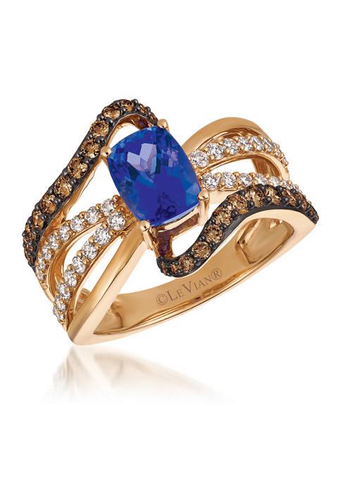 1 ct. t.w. Blueberry Tanzanite®, 1/2 ct. t.w.  Chocolate Diamonds®, and 3/8 ct. t.w. Vanilla Diamonds® Ring set in 14K Strawberry Gold®