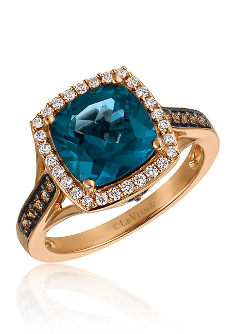 Deep Sea Blue Topaz™ with Vanilla Diamonds®, and Chocolate Diamonds® Ring in 14k Strawberry Gold®