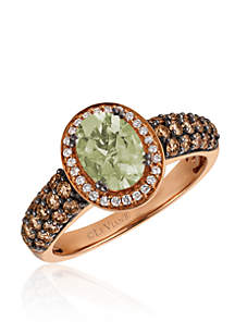 Mint Julep Quartz™ with Vanilla Diamonds® and Chocolate Diamonds® Ring in 14K Strawberry Gold®