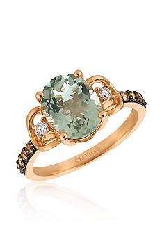 Le Vian® Mint Julep Quartz™ with Vanilla Diamonds®, and Chocolate Diamonds® Ring in 14k Strawberry Gold®