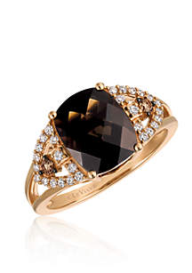 Chocolate Quartz® with Vanilla Diamonds® and Chocolate Diamonds® Ring in 14K Strawberry Gold®