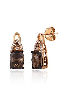 Chocolate Quartz with Vanilla Diamonds and Chocolate Diamonds  Earrings in 14K Strawberry Gold