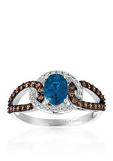 Le Vian® Blueberry Sapphire™ with Vanilla Diamonds® and Chocolate Diamonds® Ring in 14k Vanilla Gold®
