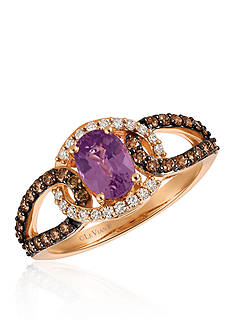 Le Vian® Bubblegum Pink Sapphire™ with Vanilla Diamonds®, and Chocolate Diamonds® Ring in 14k Strawberry Gold®