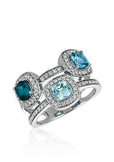Le Vian® Ocean Blue Topaz™ with Deep Sea Blue Topaz™ and Sky Blue Topaz, and Vanilla Diamonds® Ring in 14k Vanilla Gold®