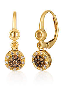 Chocolatier® Chocolate Diamonds® and Vanilla Diamonds® Cluster Drop Earrings in 14k Honey Gold™