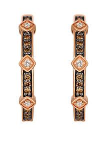 Chocolatier Vanilla Diamonds and Chocolate Diamonds 14k Strawberry Gold Earrings