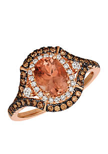 Chocolatier Peach Sunstone Ring set in 14k Strawberry Gold