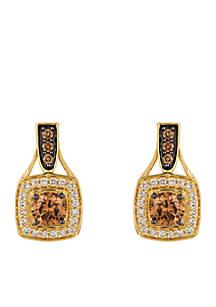 Chocolatier Vanilla Diamonds and Chocolate Diamonds 14k Honey Gold Earrings