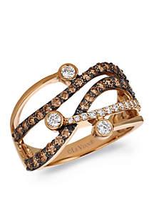 Le Vian® Chocolatier Ring featuring 1/3 cts. Vanilla Diamonds, 3/4 cts. Chocolate Diamonds set in 14K Strawberry Gold