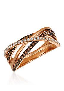 Chocolatier® Gladiator Weave™ Chocolate Diamonds® and Vanilla Diamonds® Ring in 14k Strawberry Gold®