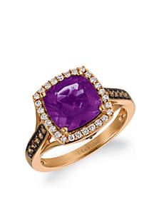 Le Vian Grape Amethyst and Chocolate & Vanilla Diamonds Ring in 14k Strawberry Gold