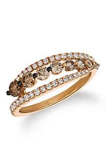 Le Vian Chocolate Diamonds and Vanilla Diamonds Ombre Ring set in 14K Strawberry Gold
