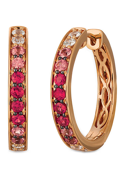 Pink Sapphire, White Sapphire and Rubies Earrings in 14K Strawberry Gold®