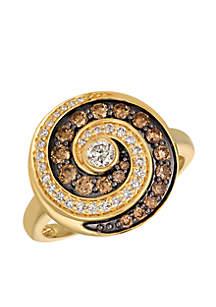 Chocolate Diamonds and Vanilla Diamonds 14k Honey Gold Ring