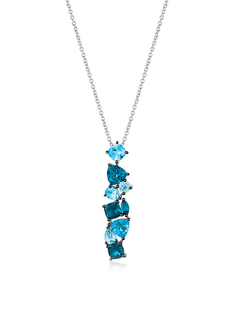 1/5 ct. t.w. Blue Topaz, 1/5 ct. t.w. Deep Sea Blue Topaz™ Pendant Necklace in 14K Vanilla Gold®