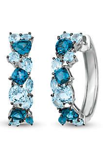 2.5 ct. t.w. Deep Sea Blue Topaz™, 2.25 ct. t.w. Sky Blue Topaz and 9/10 ct. t.w. Ocean Blue Topaz™ Earrings in 14k Vanilla Gold®
