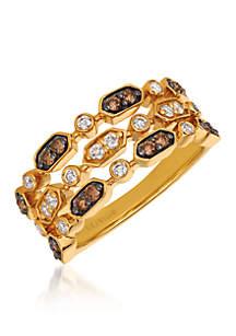 Chocolatier Vanilla Diamonds and Chocolate Diamonds 14k Honey Gold Ring
