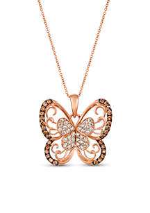 Chocolate & Nude® 1/2 ct. t.w. Chocolate Diamonds®and 5/8 ct. t.w. Nude Diamonds™ Butterfly Pendant in 14k Strawberry Gold®