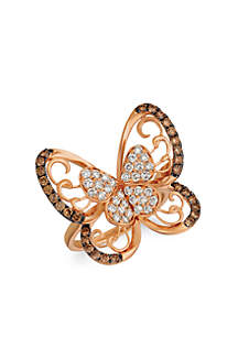 Nude Palette™ Chocolate and Nude™ 1/2 ct. t.w. Chocolate Diamonds® and 5/8 ct. t.w. Nude Diamonds™ Butterfly Ring in 14k Strawberry Gold®
