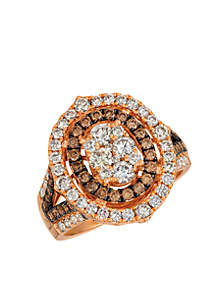 Nude Chocolate Diamonds® and Nude Diamonds™ Ring in 14k Strawberry Gold®