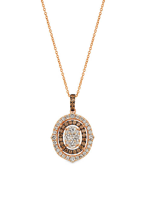 Creme Brulee® 1 ct. t.w. Nude Diamonds™, 1/3 ct. t.w. Chocolate Diamonds® Pendant in 14K Strawberry Gold®