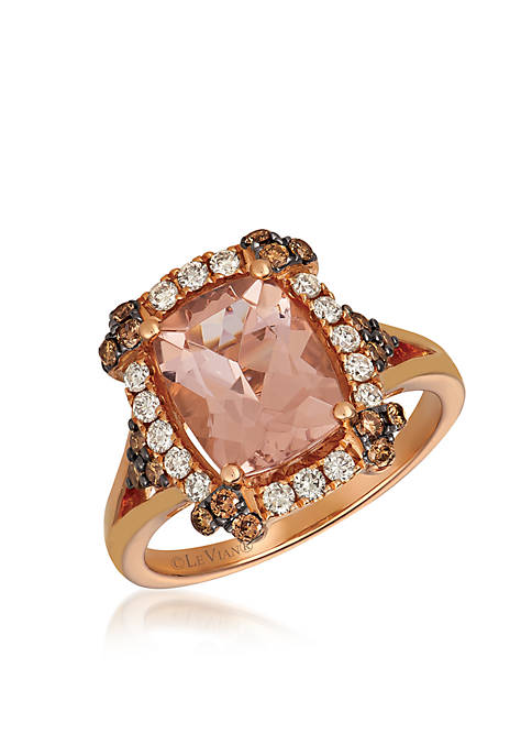 Creme Brulee® 1/6 ct. t.w. Peach Morganite™, 1/3 ct. t.w. Chocolate Diamonds®, 1/3 ct. t.w. Nude Diamonds™ Ring in 14K Strawberry Gold®