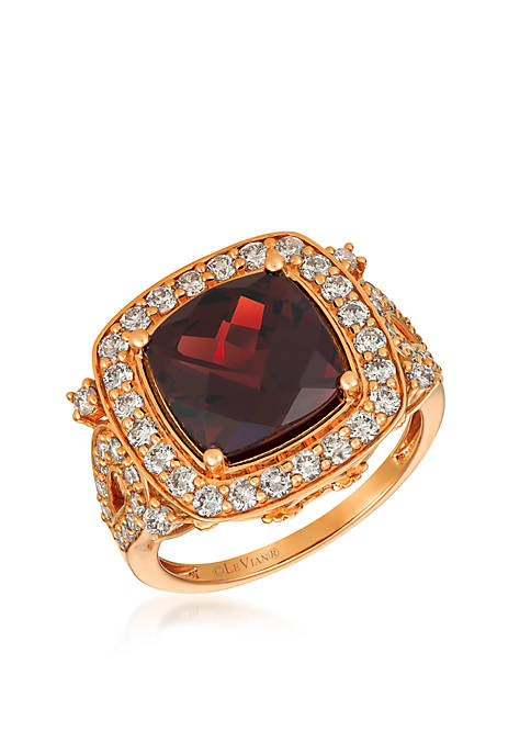 Creme Brulee® 5 ct. t.w. Pomegranate Garnet™, 1 ct. t.w. Nude Diamonds™ Ring in 14K Strawberry Gold®