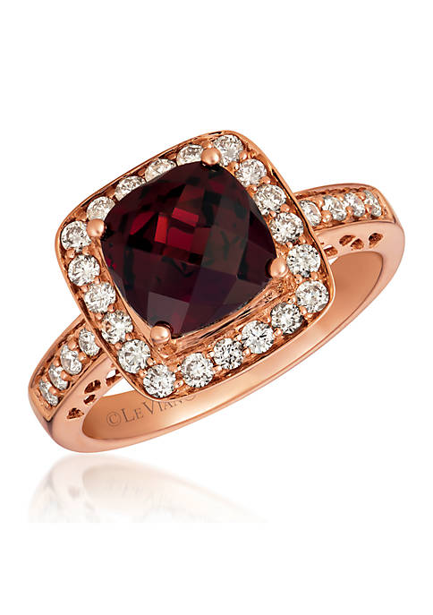 1/2 ct. t.w. Nude Diamonds™ and 2.75 ct. t.w. Pomegranate Garnet™ Ring in 14K Strawberry Gold®