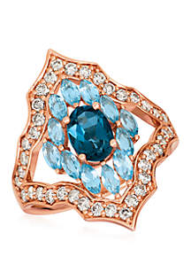 3/4 ct. t.w. Deep Sea Blue Topaz™, 9/10 ct. t.w. Ocean Blue Topaz™ and 5/8 ct. t.w. Nude Diamonds™ Ring in 14k Strawberry Gold®