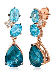 6 3/8 ct. t.w. Deep Sea Blue Topaz™, 3 1/4 ct. t.w. Ocean Blue Topaz™ and 1/4 ct. t.w. Nude Diamonds™ Earrings in 14k Strawberry Gold®