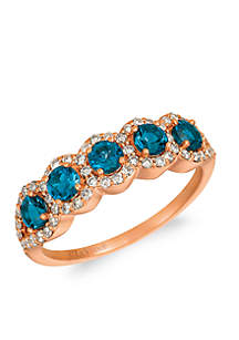 Creme Brulee® 7/8 ct. t.w. Deep Sea Blue Topaz™, 3/8 ct. t.w. Nude Diamonds™ Ring in 14K Strawberry Gold®