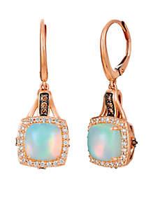 Chocolatier® 1/3 ct. t.w. Neopolitan Opal™, 1/20 ct. t.w. Chocolate Diamonds®, 1/3 ct. t.w. Vanilla Diamonds® Earrings set in 14K Strawberry Gold®