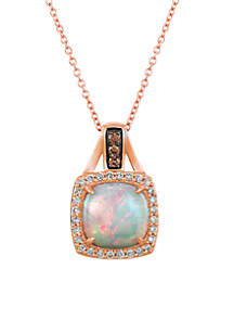 Chocolatier® 3/4 ct. t.w. Neopolitan Opal™, 1/15 ct. t.w. Chocolate Diamonds®, 1/5 ct. t.w. Vanilla Diamonds® Pendant in 14K Strawberry Gold®