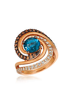 Creme Brulee® 2 ct. t.w. Deep Sea Blue Topaz™, 3/8 ct. t.w. Chocolate Diamonds®, 3/8 ct. t.w. Nude Diamonds™ Ring in 14K Strawberry Gold®