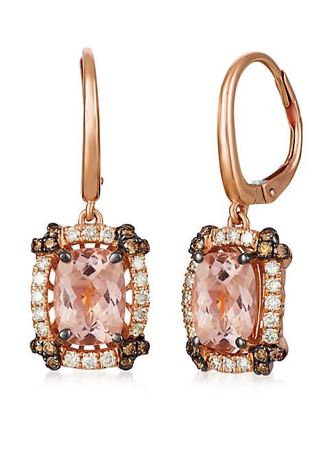 Creme Brulee® 1/8 ct. t.w. Peach Morganite™, 1/3 ct. t.w. Nude Diamonds™, 1/4 ct. t.w. Chocolate Diamonds® Earrings in 14K Strawberry Gold®