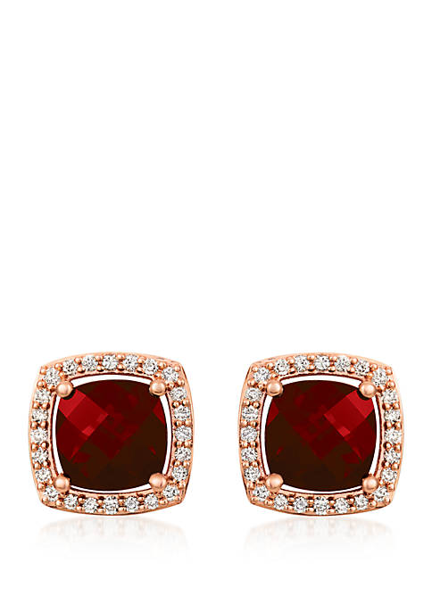 3/8 ct. t.w. Nude Diamonds™ and 5/8 ct. t.w. Pomegranate Garnet™ Stud Earrings in 14k Strawberry Gold®