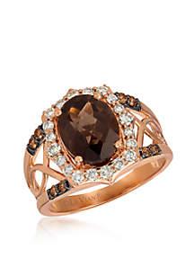 Creme Brulee® 3/8 ct. t.w. Chocolate Quartz®, 1/2 ct. t.w. Nude Diamonds™, 1/8 ct. t.w. Chocolate Diamonds® Ring in 14K Strawberry Gold®